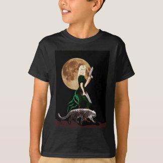 fantasy art, woman , moon ,  and snow leopard T-Shirt
