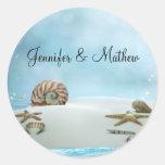 Fantasy Beach Wedding Envelope Sticker