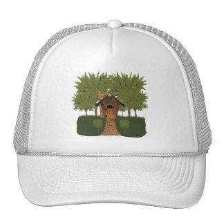 Fantasy Birdhouse Cottage with Cedar Trees Hat