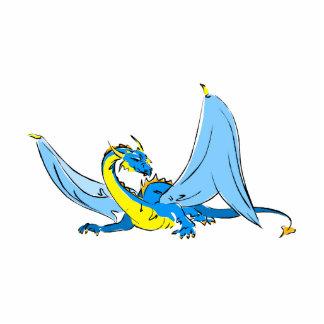 Fantasy Blue Dragon Standing Photo Sculpture
