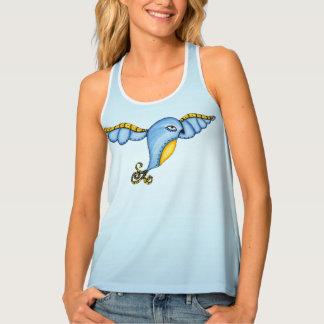 Fantasy Bluebird in Flight Yellow Fancy Tail Tank Top