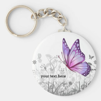 Fantasy butterfly * choose background color basic round button keychain
