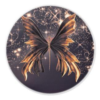 Fantasy Butterfly Gold Sparkle Elegant Chic Ceramic Knob