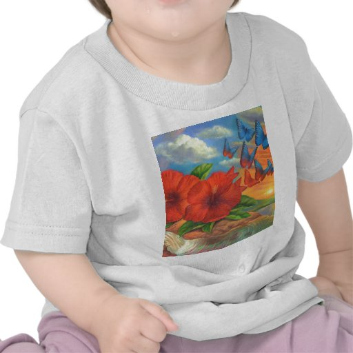 Fantasy Butterfly Landscape Painting - Multi T-shirt
