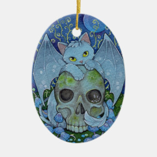 Fantasy Cats Oracle Affirmation - Death Ceramic Oval Ornament