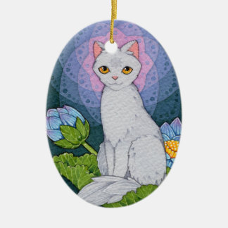 Fantasy Cats Oracle Affirmation - Mindfulness Ceramic Oval Ornament