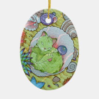 Fantasy Cats Oracle Affirmation - Sleep Ceramic Oval Ornament