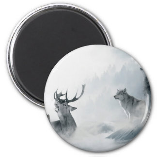Fantasy Deer and Wolves 2 Inch Round Magnet
