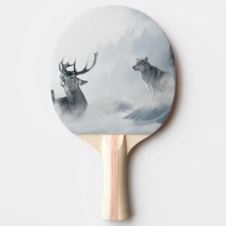 Fantasy Deer and Wolves Ping-Pong Paddle