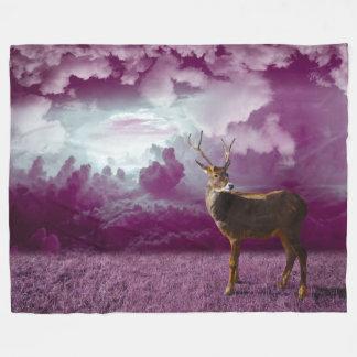 Fantasy Deer On Mauve Fleece Blanket