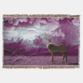 Fantasy Deer On Mauve Throw Blanket