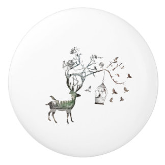 Fantasy Deer with Birds Ceramic Knob