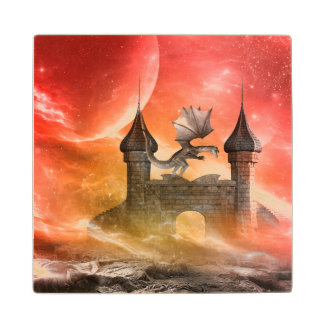 Fantasy, dragon on the castle maple wood coaster