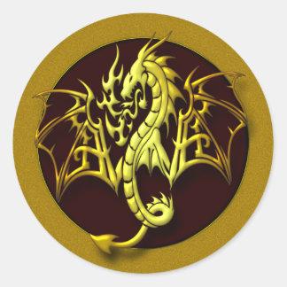 FANTASY DRAGON ROUND STICKER