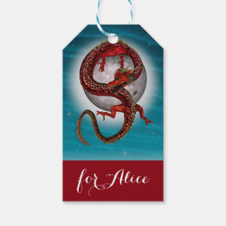 Fantasy Eastern Red Dragon Pack Of Gift Tags