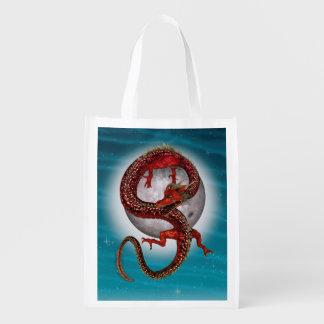 Fantasy Eastern Red Dragon Reusable Grocery Bag