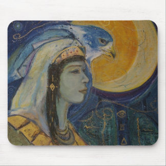 Fantasy Egyptian Falcoln Moon Goddess Mousepad