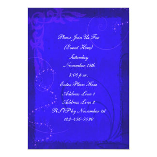 Fantasy Electric Blue Swirl Design Invitation