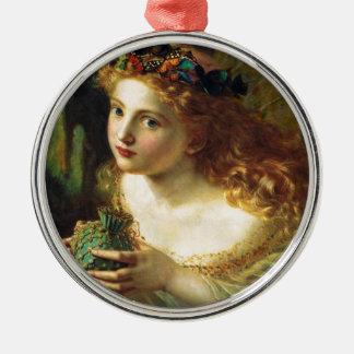 Fantasy Faeries Silver-Colored Round Ornament