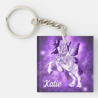 Fantasy Fairy Winged Clydesdale Horse Keychain