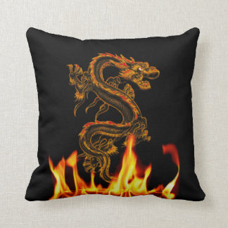 Fantasy Fire Dragon Throw Pillow