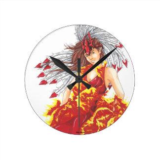 Fantasy Fire Elf Elemental Round Clock