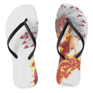 Fantasy Fire Elf Elemental Women's Flip Flops
