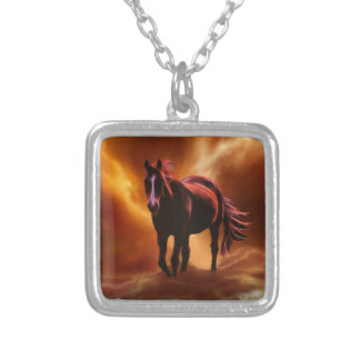 fantasy fire horse silver plated necklace