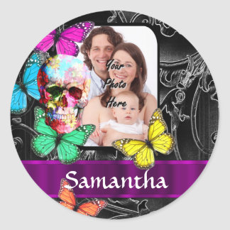 Fantasy floral sugar skull and butterflies round sticker