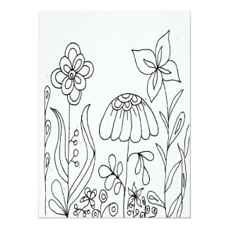 Fantasy Flower Garden Coloring Card