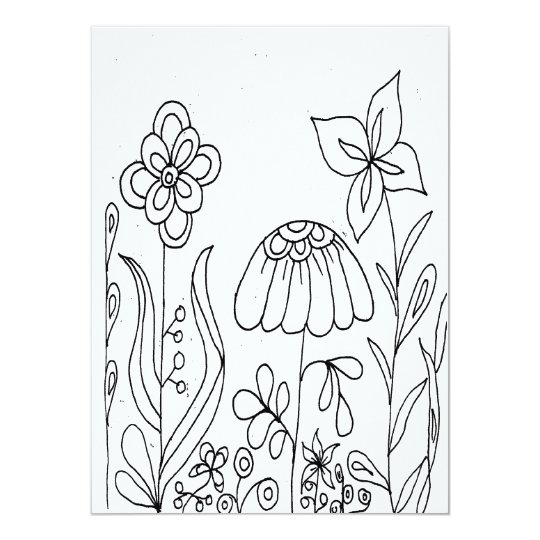 Fantasy Flower Garden Colouring Card