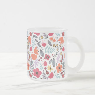 Fantasy flowers frosted glass coffee mug