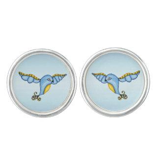 Fantasy Flying Blue Bird Cuff Links