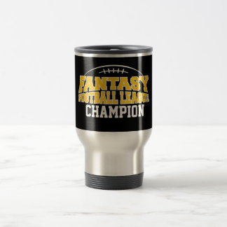 Fantasy Football Champion - Black and Yellow Gold 15 Oz Stainless Steel Travel Mug