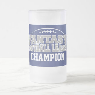 Fantasy Football Champion - Blue and Silver Gray 16 Oz Frosted Glass Beer Mug