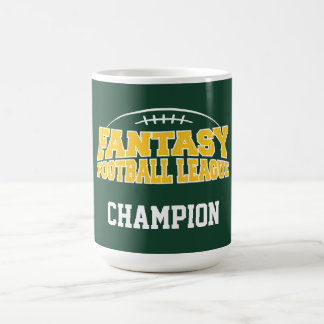 Fantasy Football Champion - Green and Yellow Gold Classic White Coffee Mug
