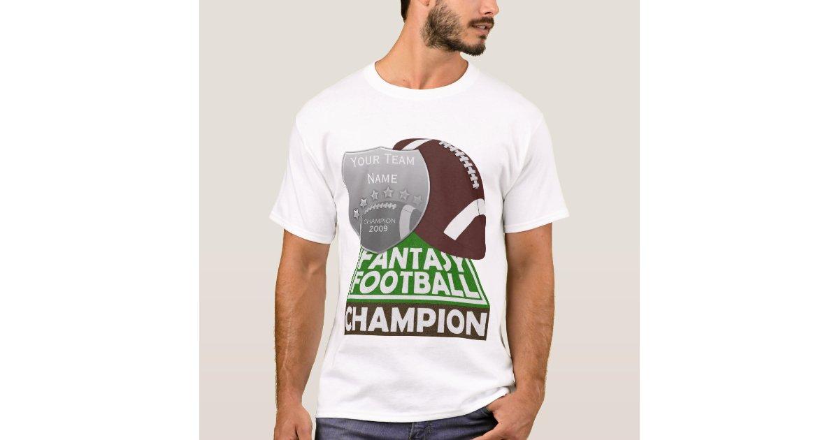 Fantasy football champion t shirt white for Fantasy football league champion shirt