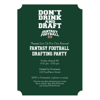 Fantasy Football - Don't Drink and Draft Card