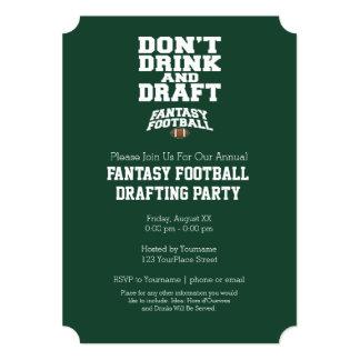 "Fantasy Football - Don't Drink and Draft 5"" X 7"" Invitation Card"