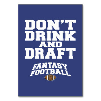 Fantasy Football Don't Drink and Draft - Navy Blue Table Cards