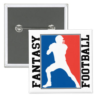 Fantasy Football, red white and blue Logo 2 Inch Square Button