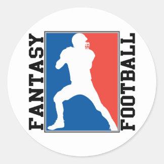 Fantasy Football, red white and blue Logo Round Sticker