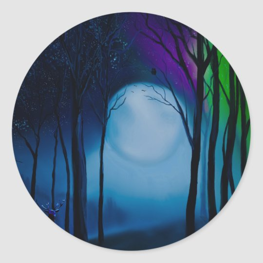 Fantasy forest art classic round sticker