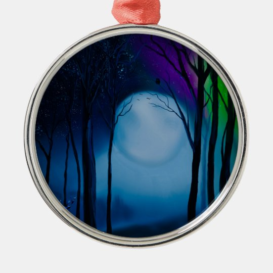 Fantasy forest art metal ornament