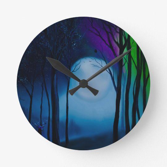 Fantasy forest art round clock