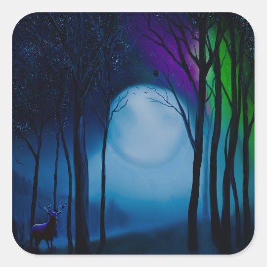 Fantasy forest art square sticker