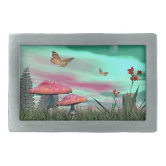 Fantasy garden - 3D render Belt Buckles