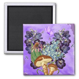 Fantasy Garden Print Square Magnet