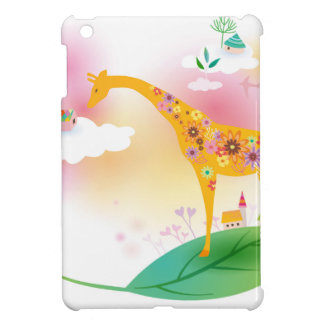 Fantasy giraffe stand on leaf over the sky case for the iPad mini