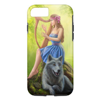 Fantasy girl fairy and friend wolf. Plays a harp iPhone 7 Case